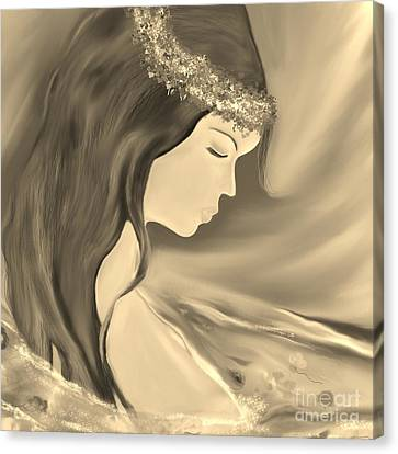 Canvas Print featuring the drawing Solitude     Black And White by Lori  Lovetere