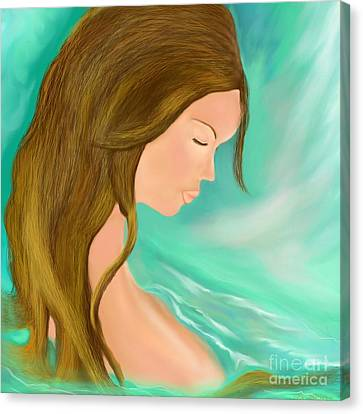Canvas Print featuring the drawing Solitude 1 by Lori  Lovetere