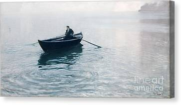 Rowboat Canvas Print - Solitude Christiana Fjord by Fritz Thaulow