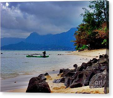 Canvas Print featuring the photograph Solo Canoe by Joe Finney