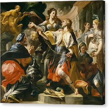 Solomon Worshiping The Pagan Gods Canvas Print by Domenico Antonio Vaccaro