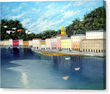 Canvas Print featuring the painting Some Were On The Mediterranean by Larry Cirigliano