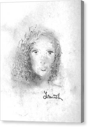 Canvas Print featuring the drawing Something About Mary by Laurie Lundquist