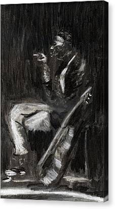 Canvas Print featuring the drawing Son House In Charcoal by Denny Morreale