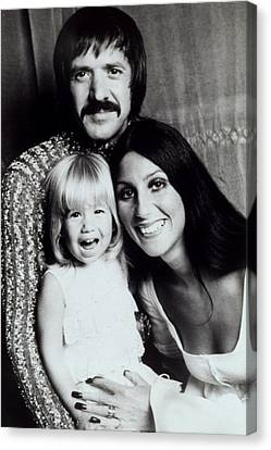 Sonny & Cher With Daughter Chastity Canvas Print by Everett