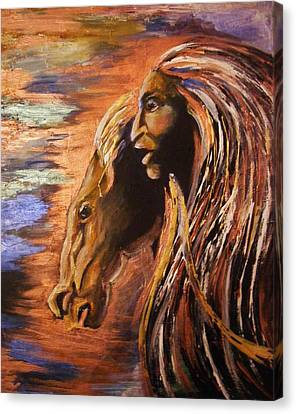 Soul Of Wild Horse Canvas Print by Karen  Ferrand Carroll