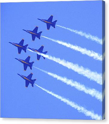 Souring With The Blue Angles Canvas Print by Mike McGlothlen