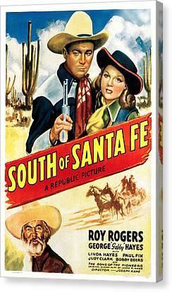 Santa Fe Cowgirl Canvas Print - South Of Santa Fe, From Left Gabby by Everett