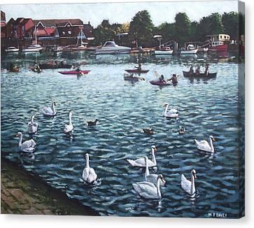 Canoe Canvas Print - Southampton Riverside Park River Itchen by Martin Davey