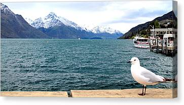 Canvas Print featuring the photograph Southern Alps Across Lake Wakatipu by Laurel Talabere