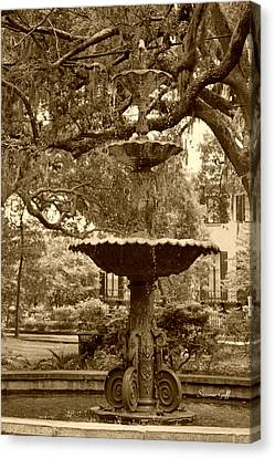 Southern Fountain II In Sepia Canvas Print by Suzanne Gaff
