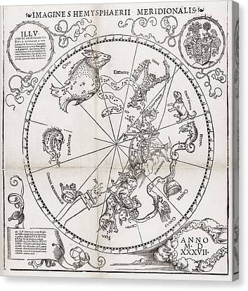 Southern Hemisphere Star Chart, 1537 Canvas Print by Middle Temple Library