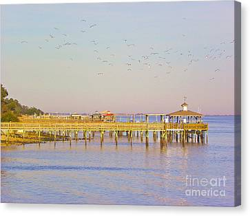 Canvas Print featuring the photograph Southport Piers by Eve Spring
