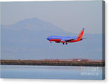 Southwest Airlines Jet Airplane At San Francisco International Airport Sfo . 7d12175 Canvas Print by Wingsdomain Art and Photography