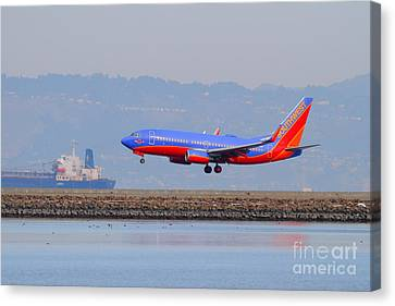 Southwest Airlines Jet Airplane At San Francisco International Airport Sfo . 7d12176 Canvas Print by Wingsdomain Art and Photography