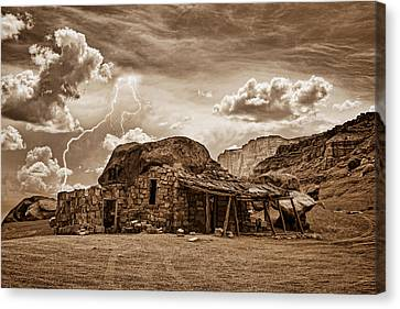 Southwest Indian Rock House And Lightning Striking Canvas Print by James BO  Insogna