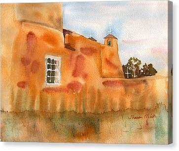 Canvas Print featuring the painting Southwest Walled Monastery by Sharon Mick