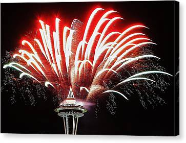 Space Needle Fireworks Canvas Print by Benjamin Yeager