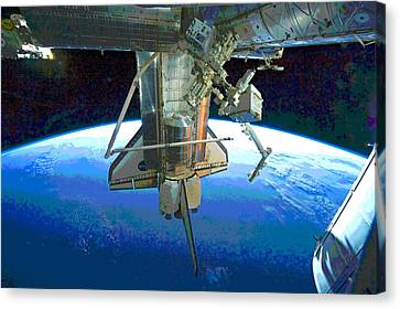 Atlantis Canvas Print - Space Shuttle Atlantis At Iss by Padre Art