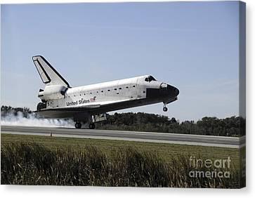 Space Shuttle Atlantis Touches Canvas Print by Stocktrek Images