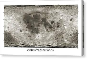 Spacecraft On The Moon, Lunar Map Canvas Print by Detlev Van Ravenswaay