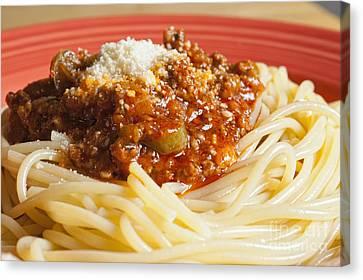 Spaghetti Bolognese Dish Canvas Print by Andre Babiak