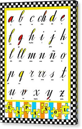 Spanish Alphabet Juvenile Licensing Art Canvas Print by Anahi DeCanio