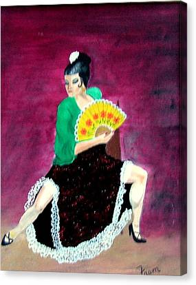 Canvas Print featuring the painting Spanish Dancer by Fram Cama