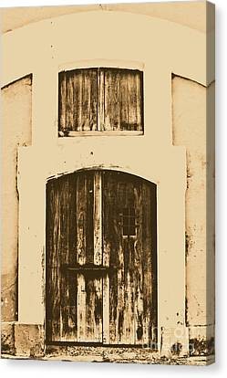 Spanish Fort Door Castillo San Felipe Del Morro San Juan Puerto Rico Prints Rustic Canvas Print by Shawn O'Brien