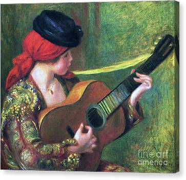 Spanish Girl With Guitar Canvas Print by Pg Reproductions