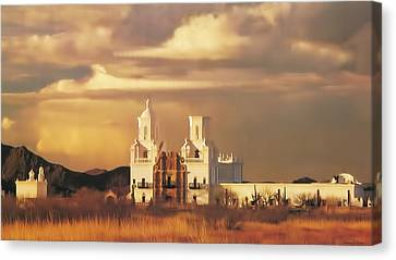 Spanish Mission Canvas Print by Walter Colvin