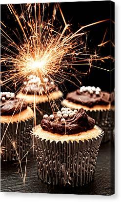 Sponged Canvas Print - Sparkler Cupcakes by Amanda Elwell
