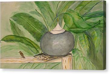 Sparrow And Ginger Canvas Print by Marian Hebert