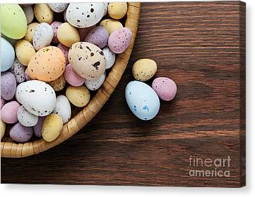 Small Basket Canvas Print - Speckled Chocolate Easter Eggs In A Basket  by Richard Thomas