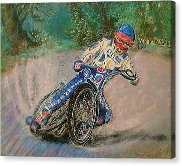Canvas Print featuring the painting Speedway Rider Edinburgh Monarchs by Richard James Digance