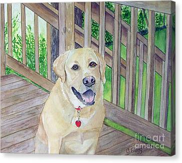Canvas Print featuring the painting Spencer On Porch by Carol Flagg