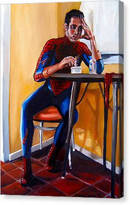 Spiderman After Work Canvas Print by Emily Jones