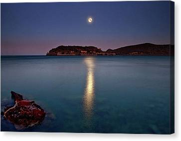 Spinalonga Full Moon Canvas Print by Christos Tsoumplekas