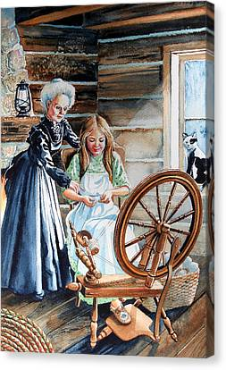 Spinning Wheel Lessons Canvas Print by Hanne Lore Koehler