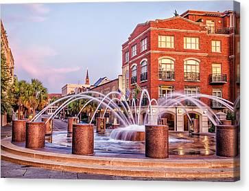 Splash Fountain In Waterfront Park Canvas Print by Vanessa Kauffmann