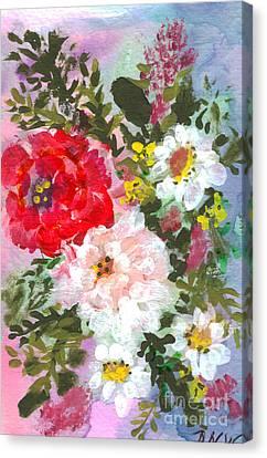 Splashy Flowers Canvas Print by Debbie Wassmann