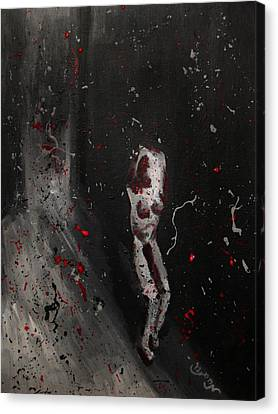 Canvas Print featuring the painting Splattered Nude Young Female In Gritty City Alley In Black And White And Red by M Zimmerman