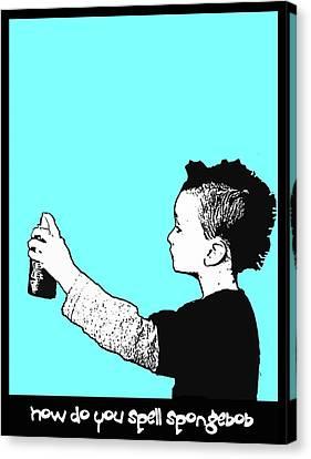 Canvas Print featuring the digital art Spongebob Punk by Andy Walsh