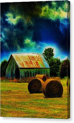 Spooky Hay Field Canvas Print by Bill Tiepelman