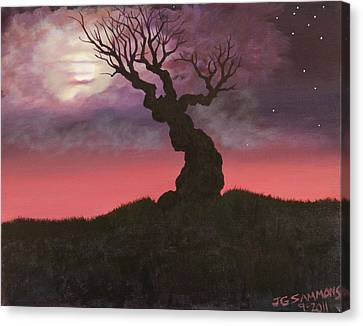 Canvas Print featuring the painting Spooky Tree by Janet Greer Sammons