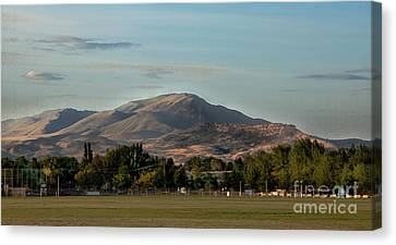 Sport Complex And The Butte Canvas Print by Robert Bales