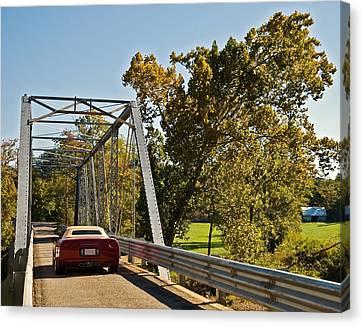 Canvas Print featuring the photograph Sports Car On A Bridge by Susan Leggett
