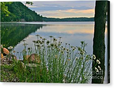 Spring At The Lake Canvas Print by Joan McArthur