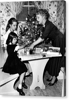 Spring Byington Helps Grandaughters Canvas Print by Everett
