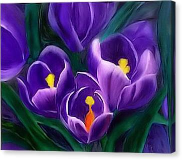 Canvas Print featuring the painting Spring Crocus by Alethea McKee